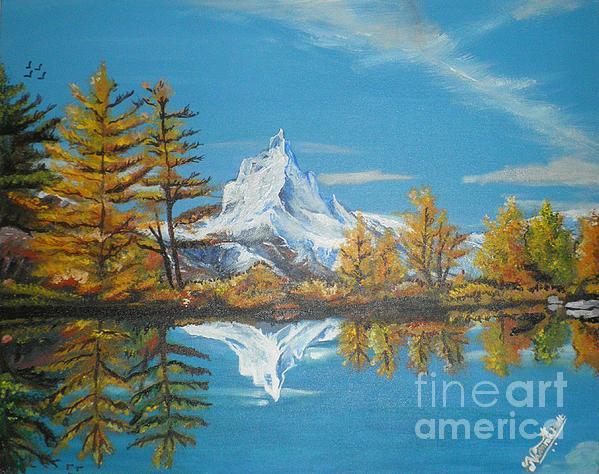 Artist Nandika  Dutt - Mountain and Lake view