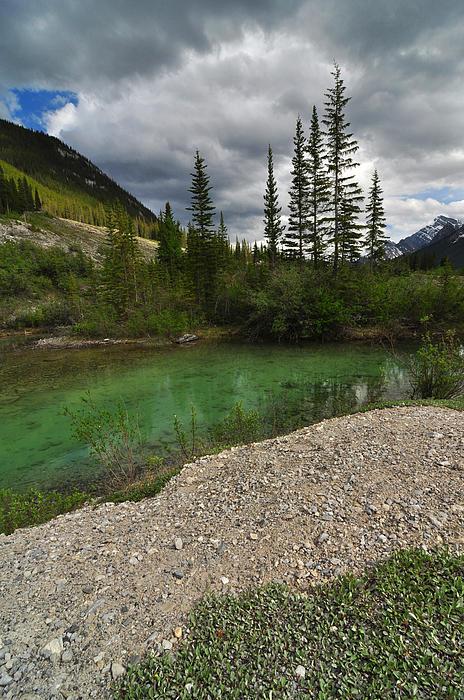 Mountain Scene Near A Small Pond In Kananaskis Country Alberta Canada Print by Michael Mckinney
