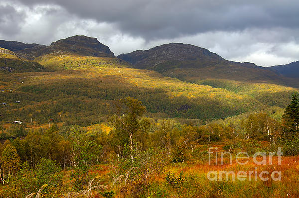 Mountain Scenery In Fall Print by Gry Thunes
