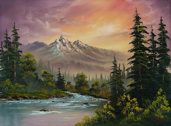 Mountain Sunset Print by C Steele