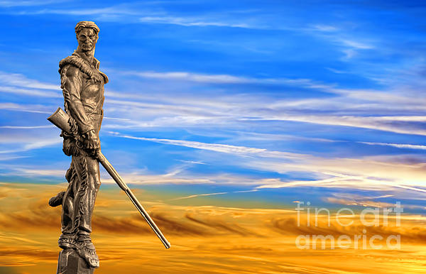 Mountaineer Statue With Blue Gold Sky Print by Dan Friend