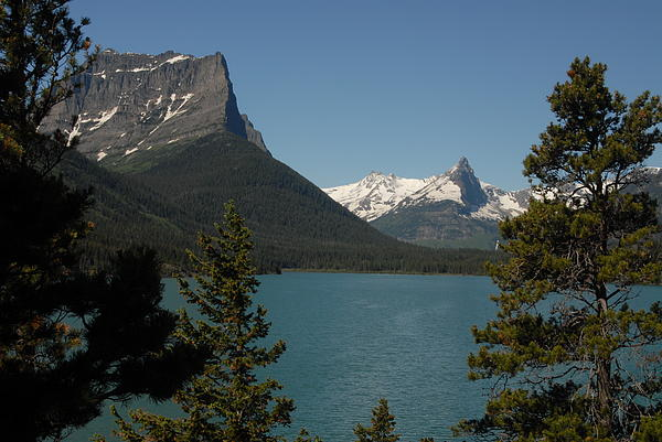 Moutains In Glacier National Park Print by Larry Moloney
