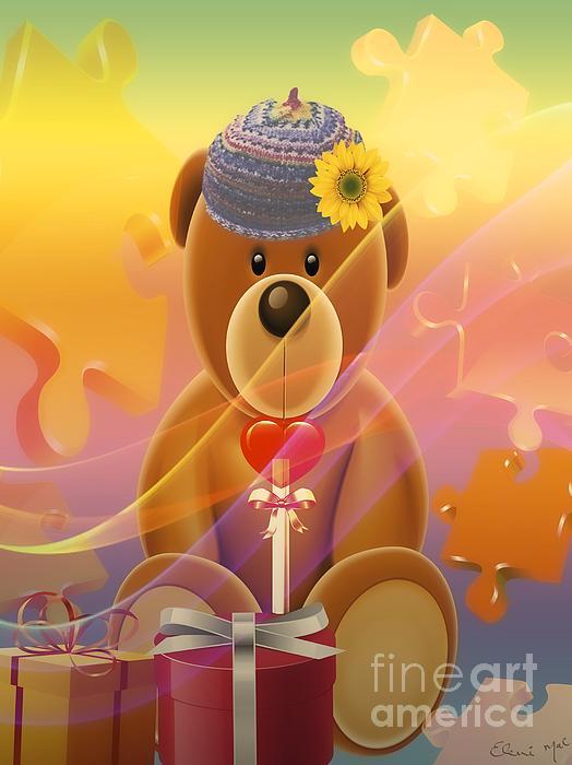 Mr. Teddy Bear Print by Eleni Mac Synodinos