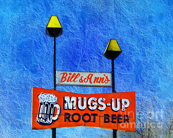 Mugs Up Root Beer Drive In Sign Print by Andee Design