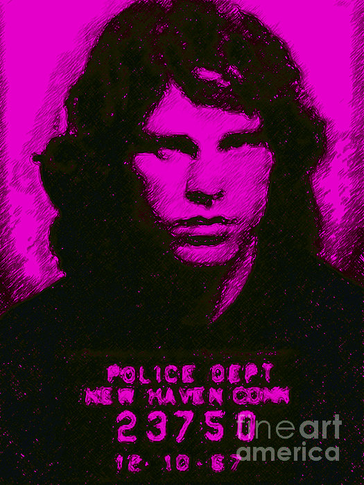 Mugshot Jim Morrison M88 Print by Wingsdomain Art and Photography