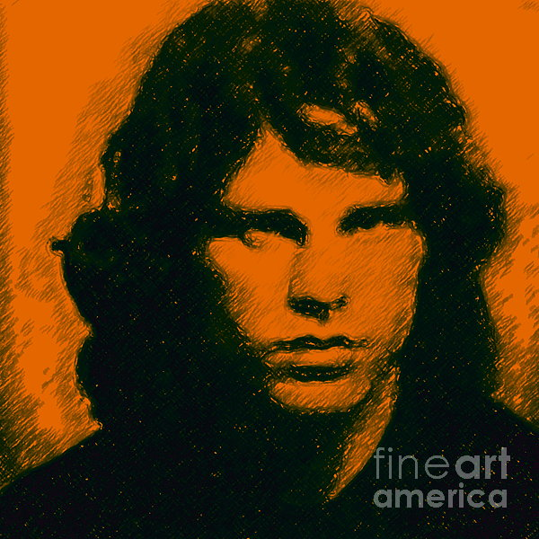 Mugshot Jim Morrison Square Print by Wingsdomain Art and Photography