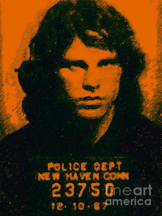 Mugshot Jim Morrison Print by Wingsdomain Art and Photography