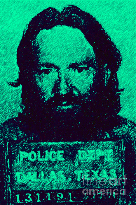 Mugshot Willie Nelson P28 Print by Wingsdomain Art and Photography