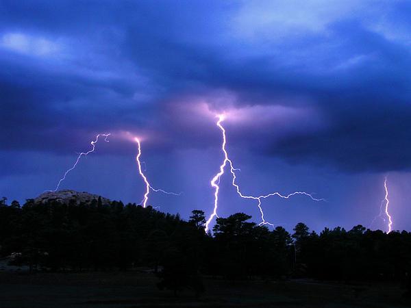 Multi Arc Lightning Strike Print by Craig T Burgwardt