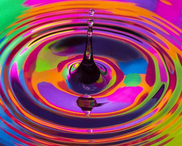 Multicolor Water Droplets 3 Print by Imani  Morales