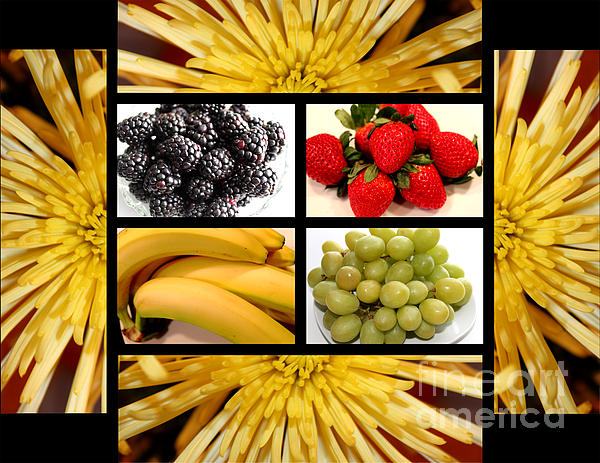 Mums Fruit Collage Print by Barbara Griffin
