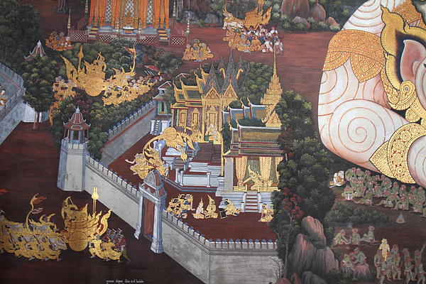Mural - Grand Palace In Bangkok Thailand - 01139 Print by DC Photographer