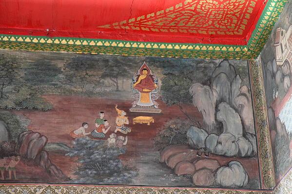 Mural - Wat Pho - Bangkok Thailand - 01134 Print by DC Photographer