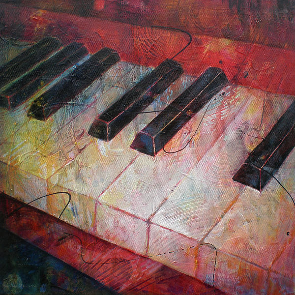 Music Is The Key - Painting Of A Keyboard Print by Susanne Clark