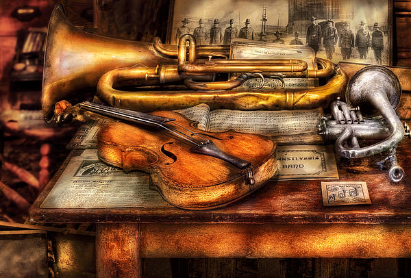 Musician - Horn - Two Horns And A Violin Print by Mike Savad