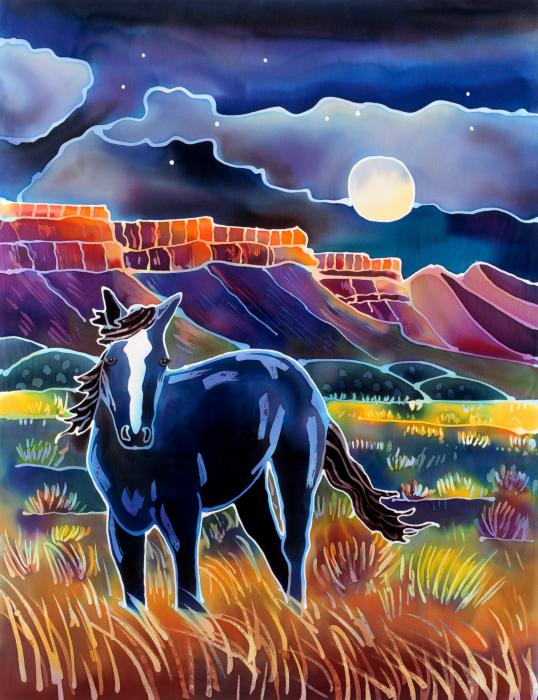 Mustang In The Moonlight Print by Harriet Peck Taylor