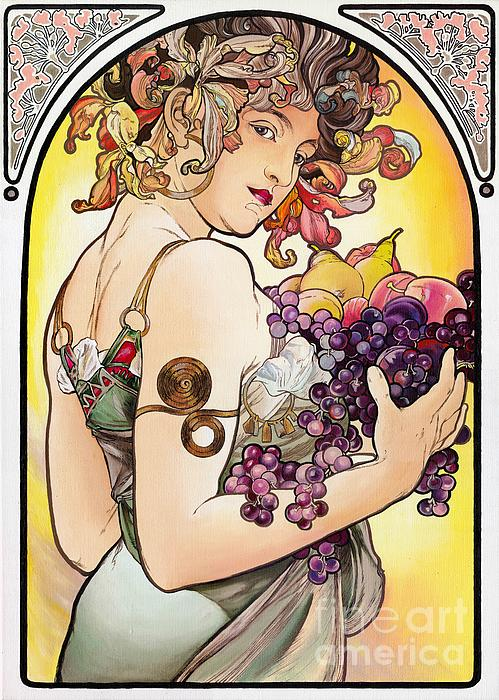 My Acrylic Painting As An Interpretation Of The Famous Artwork By Alphonse Mucha - Fruit Print by Elena Yakubovich