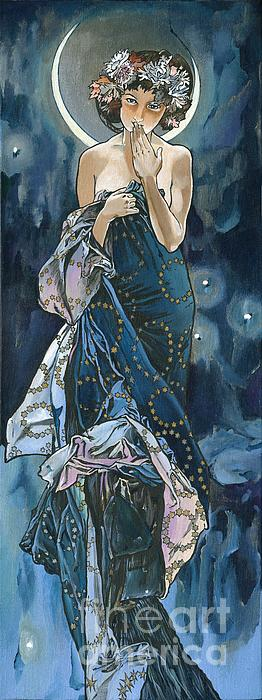 Famous Artwork Of Alphonse Mucha - Moon - Print by Elena Yakubovich