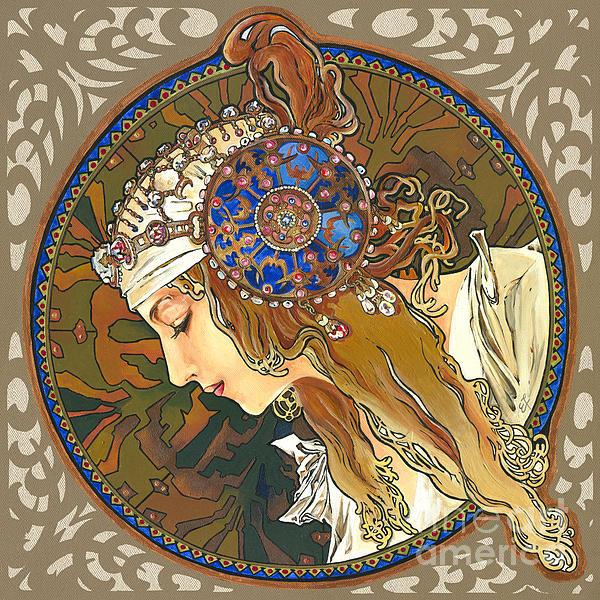 My Acrylic Painting As Interpretation Of Alphonse Mucha- Byzantine Head. The Blonde. Diagonal Frame. Print by Elena Yakubovich