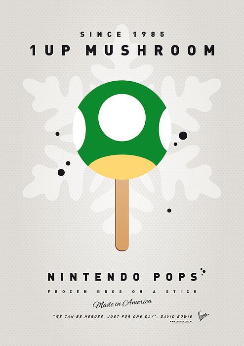 My Nintendo Ice Pop - 1 Up Mushroom Print by Chungkong Art