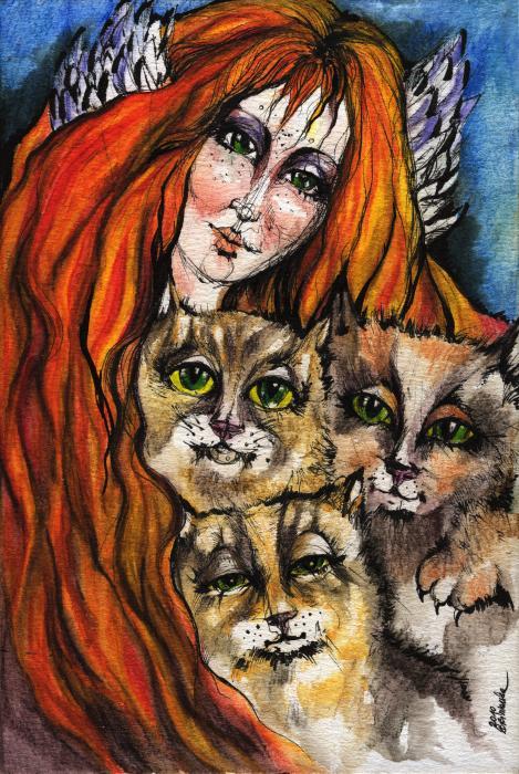 My Three Cats Print by Angel  Tarantella