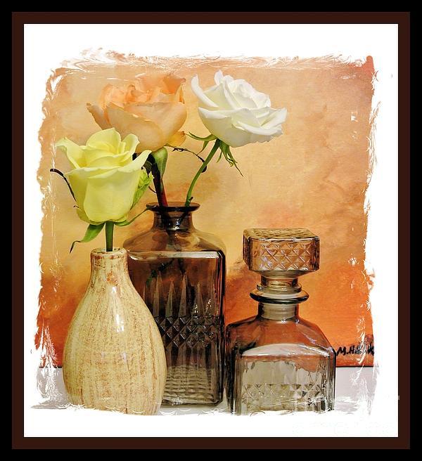 My Three Roses Still Life Print by Marsha Heiken