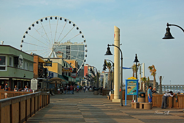 Myrtle Beach Boardwalk Print by Suzanne Gaff