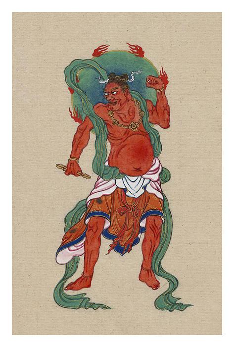Mythological Buddhist Or Hindu Figure Circa 1878 Print by Aged Pixel
