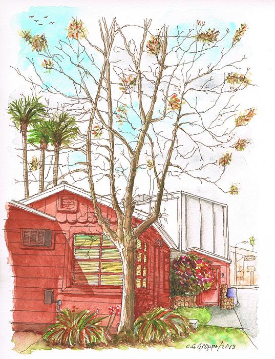 Naked Tree And Brown House In Cahuenga Blvd - Hollywood - California Print by Carlos G Groppa