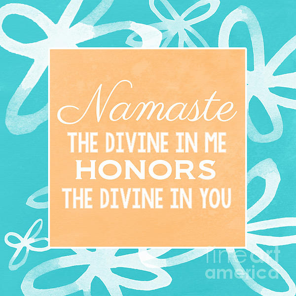 Namaste Watercolor Flowers- Blue Print by Linda Woods