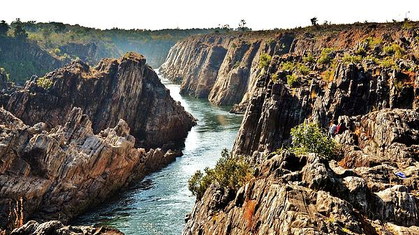 Narmada River Gorge At Jabalpur India Print by Kim Bemis