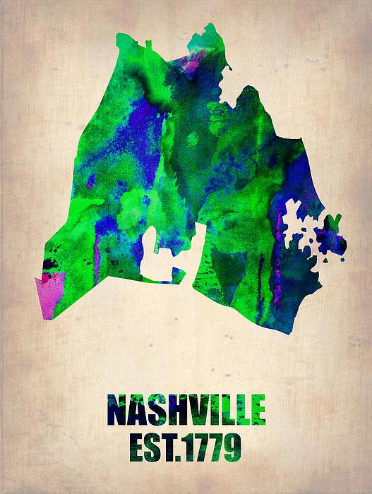 Nashville Watercolor Map Print by Naxart Studio