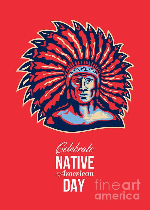 Native American Day Celebration Retro Poster Card Print by Aloysius Patrimonio