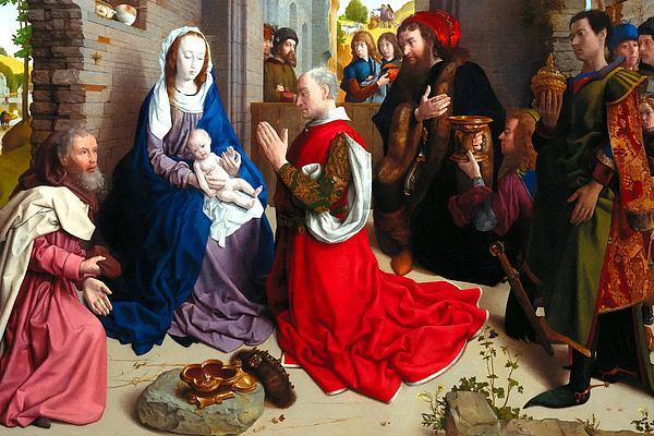 Nativity And Adoration Of The Magi Print by Munir Alawi