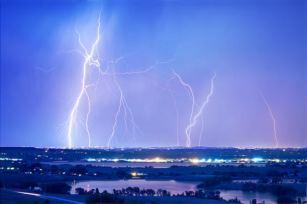 Natures Light Show Over The Boulder Reservoir  Print by James BO  Insogna