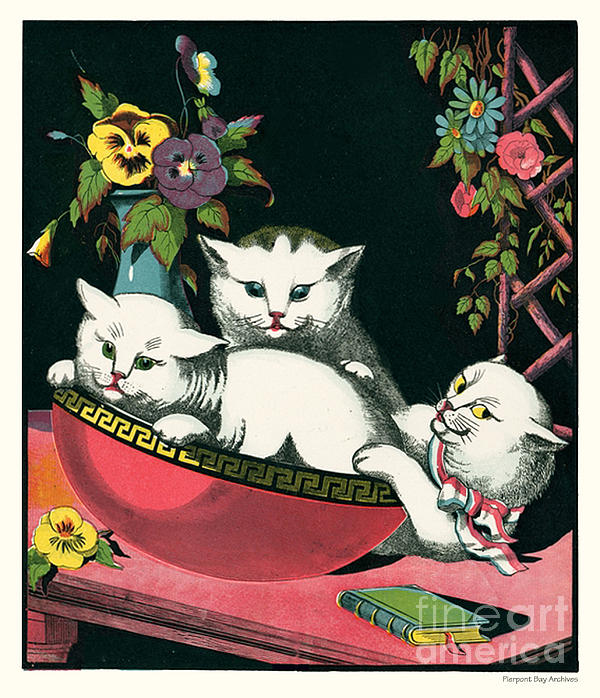 Naughty Cats Play In Antique Pink Bowl With Book And Sweet Williams Flowers Print by Pierpont Bay Archives