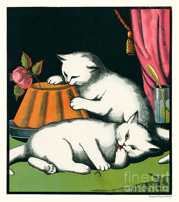 Naughty Cats Preen And Lounge With Rose Topped Cake Print by Pierpont Bay Archives