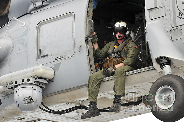 Naval Aircrewman Acts In An Sh-60b Sea Print by Stocktrek Images