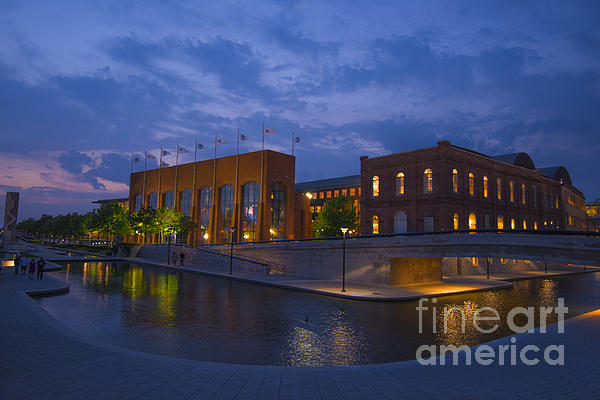 Ncaa Hall Of Champions Blue Hour Wide Print by David Haskett