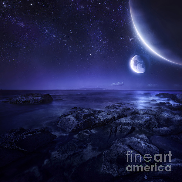 Nearby Planets Hover Over The Ocean Print by Evgeny Kuklev