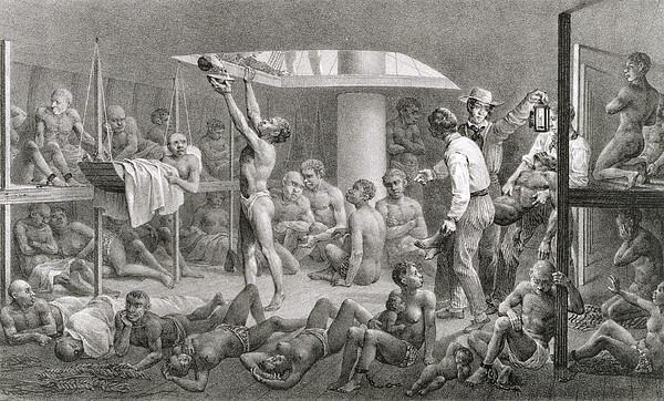 Negroes In The Bilge, Engraved Print by Johann Moritz Rugendas