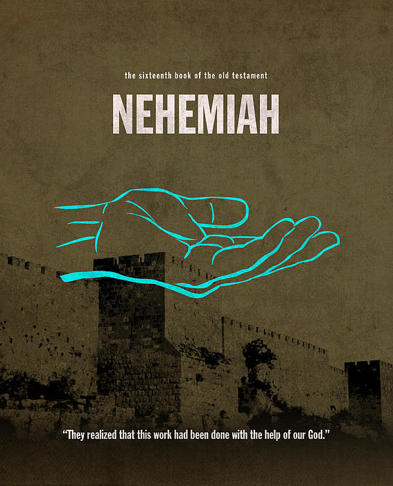 Nehemiah Books Of The Bible Series Old Testament Minimal Poster Art Number 16 Print by Design Turnpike
