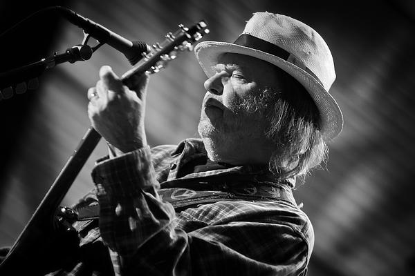 Neil Young In Black And White 2 Print by The  Vault - Jennifer Rondinelli Reilly