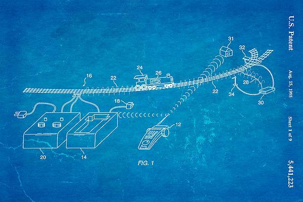 Neil Young Train Control Patent Art 1995 Blueprint Print by Ian Monk