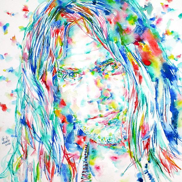 Neil Young - Watercolor Portrait Print by Fabrizio Cassetta