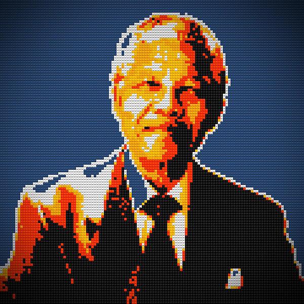 Nelson Mandela Lego Pop Art Print by Georgeta Blanaru