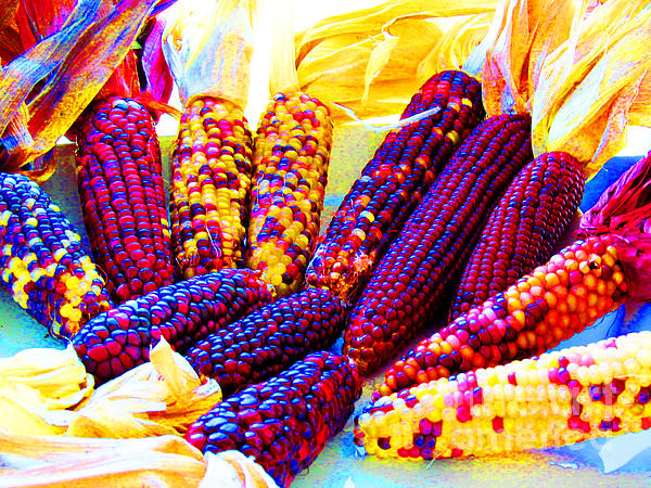 Neon Indian Corn Print by Tina M Wenger