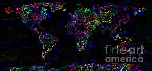 Neon World Map Print by Zaira Dzhaubaeva