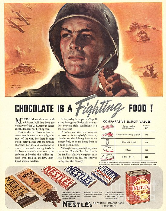 Nestle�s 1940s Usa Propaganda Chocolate Print by The Advertising Archives