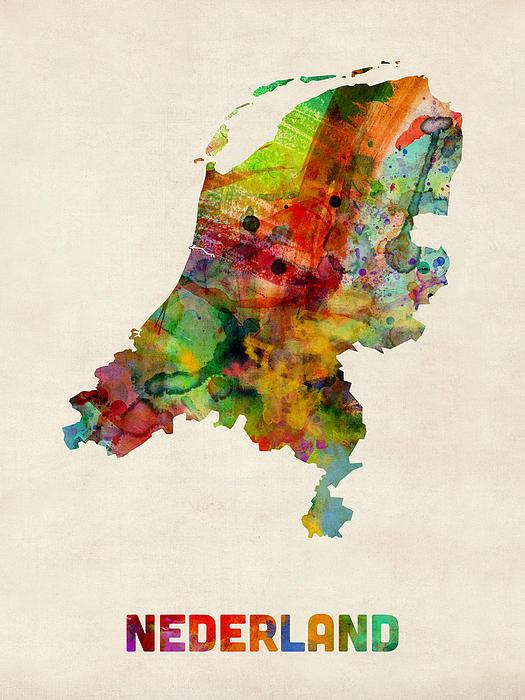Netherlands Watercolor Map Print by Michael Tompsett
